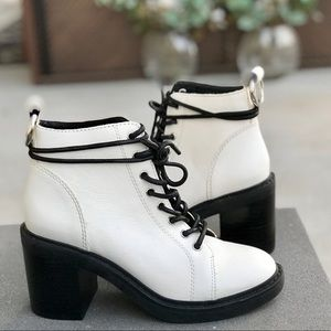 DOLCE VITA white leather combat boot lace up ANKLE